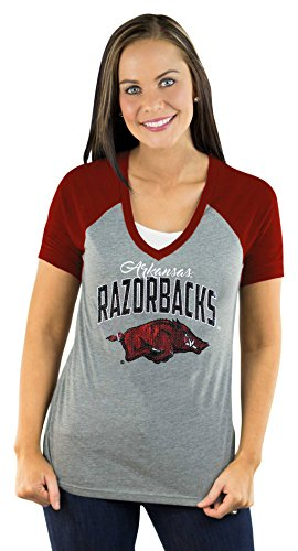 NCAA Arkansas Razorbacks Women's Short Sleeve V Neck Raglan Tee, XX-Large, (Arkansas Razorbacks Stone)