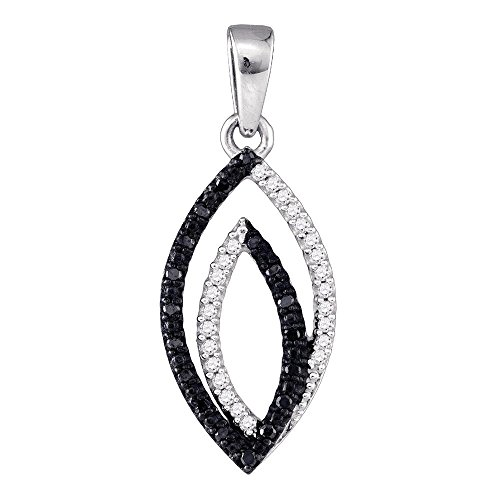 10k White Gold Black Diamond Fashion Pendant Leaf Charm Fashion Style Polished Fancy 1.00 Cttw (Gold White Diamond Pendant Flower)