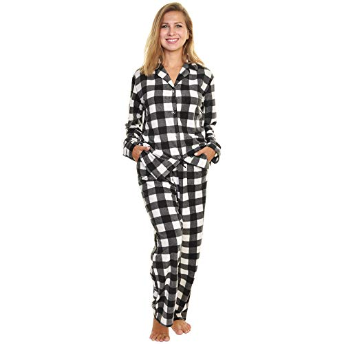 Angelina Women's Cozy Fleece Pajama Set, Black/White Plaid, Large (Black Flannel Pajama)