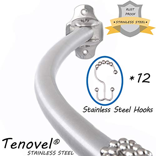 """(TENOVEL 2-Piece Bathroom Shower Sets: Stainless Steel 42""""-72"""" Adjustable Curved Shower Rod, Double Glide Shower Curtain Hooks/Rings-Brushed Nickel(NO Tube)"""