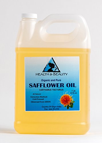 Safflower Oil Organic Carrier High Oleic Cold Pressed Premium 100% Pure 128 oz, 7 LB, 1 gal