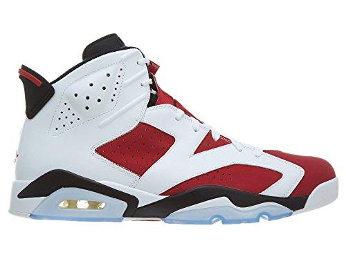 Nike Air Jordan 6 Retro, Zapatillas de Deporte para Hombre Blanco / Rojo / Negro / (White / Carmine-Black)