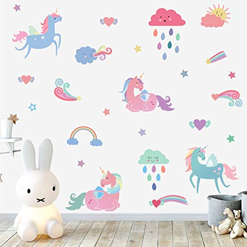 IARTTOP Rainbow Unicorn Wall Decal, Colorful Horse Unicorn with Clouds Rainbow Star Sticker, Multi-Color Sticker for Girls Room Decor