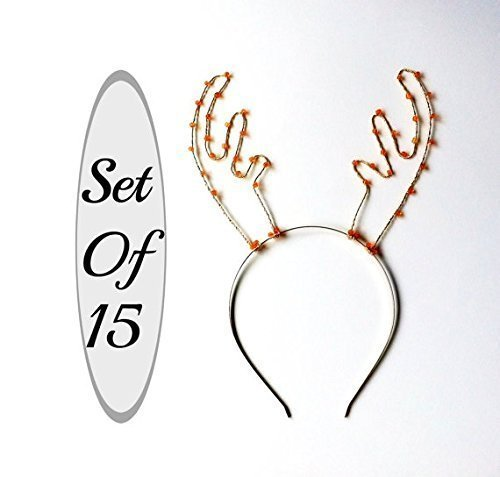 Set Of 15 Antler Headbands, Party Pack Of Fifteen Deer Ears, Silver And Orange Beaded Rudolf Hair Bands, Deer Antlers For Christmas Parties, Photo Booths & More by Scarlet Tiaras