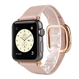FOTOWELT for Apple Watch Band, 38mm Modern Genuine Leather Watch Band Wrist Strap Bracelet with Magnetic Buckle for Apple Watch iWatch-Pink Band with Rose Gold Adapter