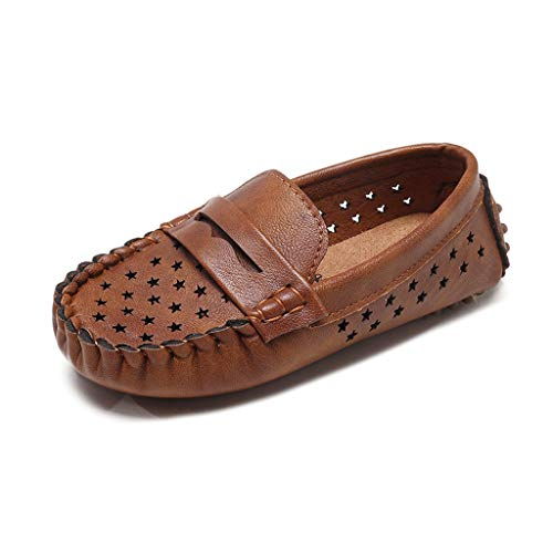 ANJUNIE Children Loafers Shoes Boys Girls Breathable Solid Color Bottom Casual Comfy Shoes(Brown,31)]()