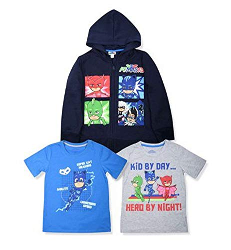 (PJ Masks Hoodie Combo Set - 1 Hoodie & 2 PJ Masks T-Shirts Featuring Catboy, Gekko & Owlette - PJ Mask Combo Set (Grey/Yellow/Blue, 5/6))