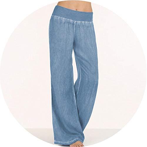 (Be fearless Plus Size Women Denim Wide Leg Pants Jeans Elastic High Waist Trousers Womens Clothing,Light Blue,XL)