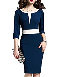 Women's 2/3 Sleeve Colorblock Slim Bodycon Business...