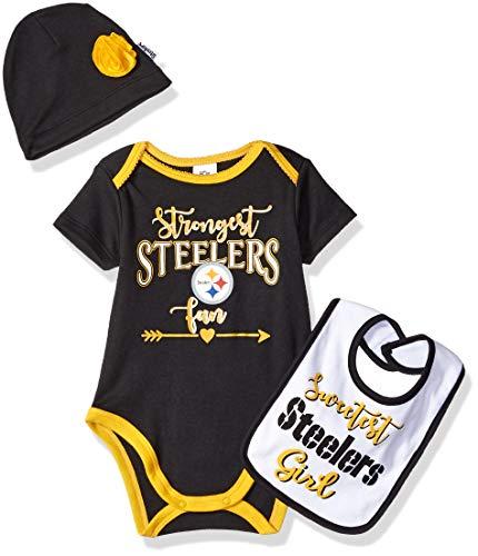 (NFL Pittsburgh Steelers Baby-Girls Bodysuit, Bib & Cap Set, Black, 3-6 Months)