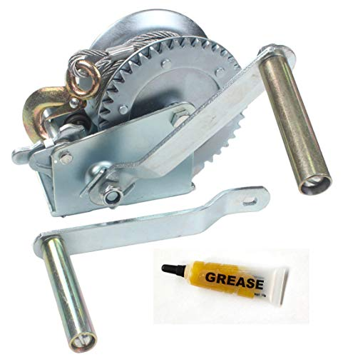 lb Hand Gear Winch Come with Two Crank Handles! - Manual Operating with Strap & Cable for Boats and Trailers(1600 lb with Cable). ()