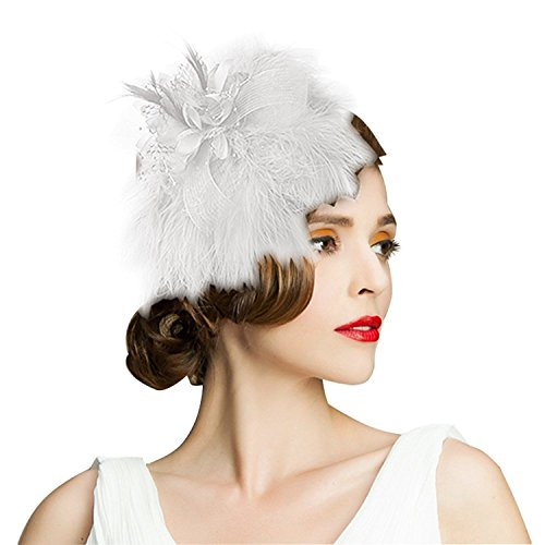 Edith qi Women's Hats Celebration/Cocktail/Party/Wedding Feather Fascinators Hair Clip White -