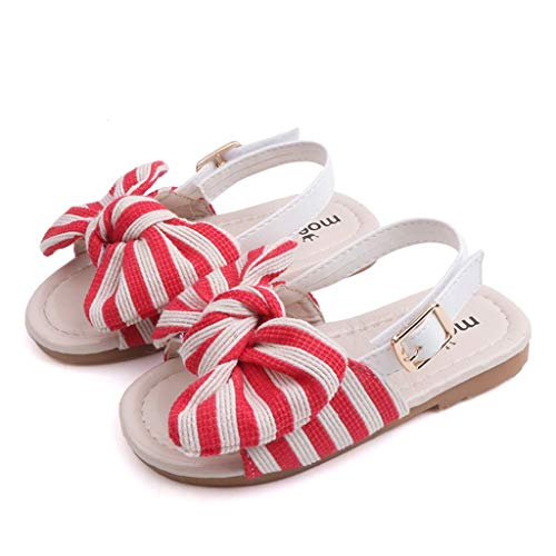 Wenysysummer Children Baby Baby Girl Striped Bow Sling with Two Wearing Slippers Sandals Casual Shoes Sandals(Red,27)