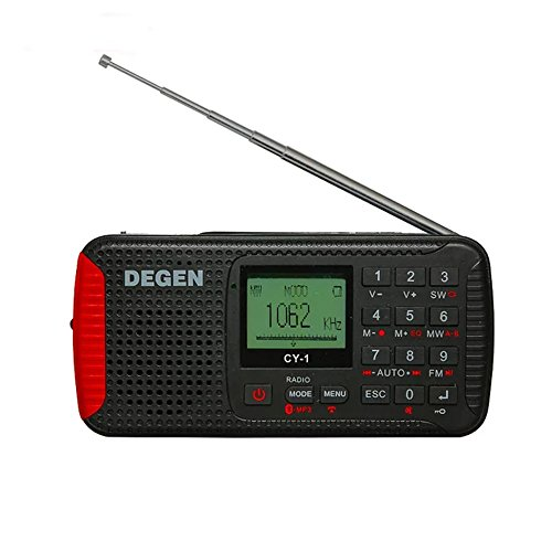 DEGEN CY-1 Radio Wireless Crank Dynamo Solar Emergency FM /MW/ SW Alarm Clock Shortwave Camping Travel Portable Radio with LCD Display Flashlight SOS Bluetooth Speaker MP3 Player and Recorder