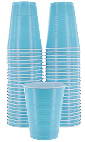 Amcrate Light Blue Colored 16-Ounce Disposable Plastic Party Cups - Ideal for Weddings, Party's, Birthdays, Dinners, Lunch's. (Pack of 50) -
