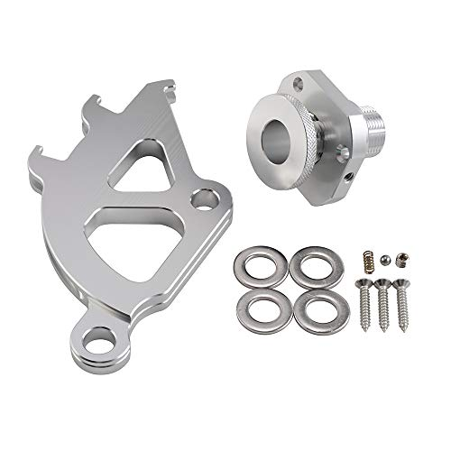 (NICECNC Silver Firewall Adjuster & Triple Hook Clutch Quadrant Kit Replace Ford Mustang)
