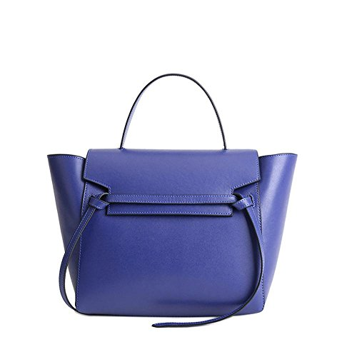 Viviesta Women's Real Leather Stylish Belt Knot Trapeze Shoulder Bag Handbag Blue