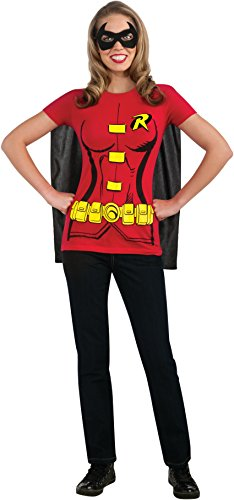 Adult Super Hero Costumes (DC Comics Women's Robin T-Shirt With Cape And Eye Mask, Red, X-Large)