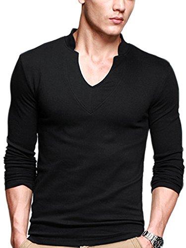 iLoveSIA Mens T-Shirts Long Sleeves Cotton Slim V-Neck Casual Shirt Black XL Fit Chest 44.9