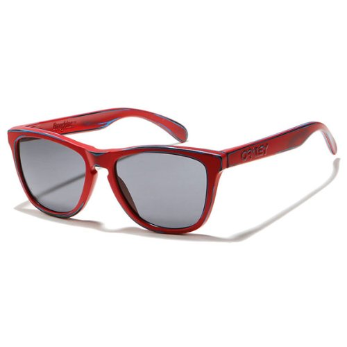 Oakley Skate Deck Frogskins Men's Limited Editions Lifestyle Sunglasses/Eyewear - Matte Red/Grey / One Size Fits - Wayfarer Frogskins Oakley