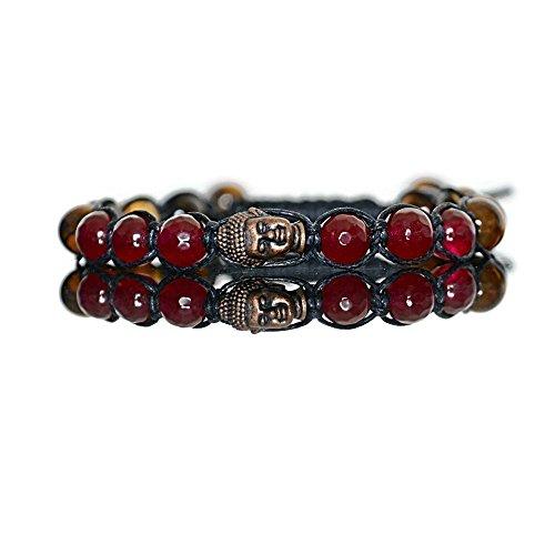 Buddha Head Beaded Bracelet for Men - Tigers Eye Red Jade Gemstone Boho Adjustable Shamballa Men's Bracelet Yoga Jewelry - Red Jade Beaded Bracelet