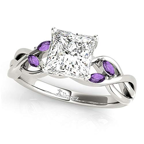 Palladium Princess Ring - Twisted Princess Amethysts Engagement Ring Palladium (1.50ct)