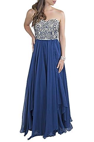 Milano Formals Women's Sweetheart Waterfall Long Navy Blue Evening Dress