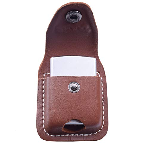 Handmade Fliptop Leather Lighter Pouch Holder Case with Pocket Belt Loop (Brown)