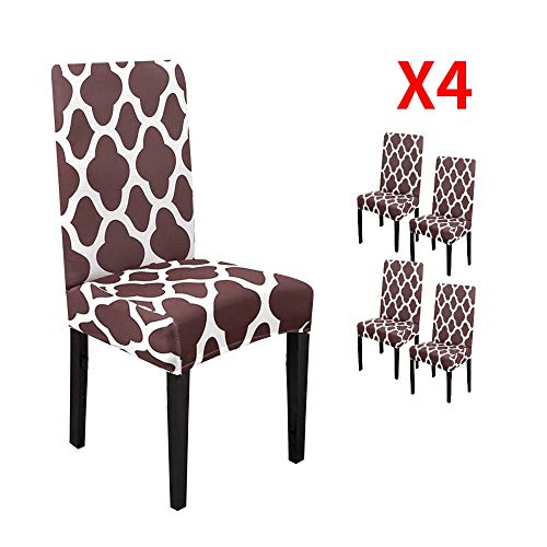 YIMEIS Comfort Stretch Dining Room Chair Covers, Dining Chair Protector, Removable Washable Short Dining Chair Seat Covers for Dining Room, Kitchen, Party (Pack of 4, Coffee)