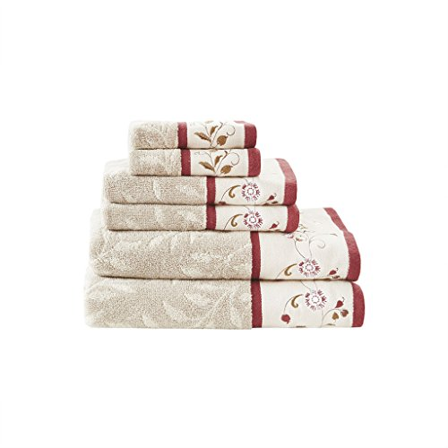 Madison Park Serene Towel Set, Red