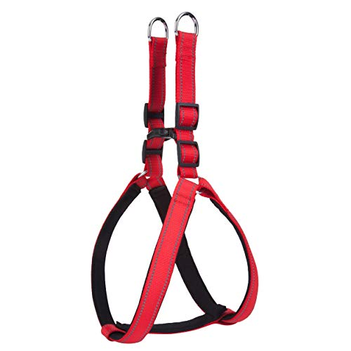 LukPaw Heavy Duty Dog Harness Large Dog Padded Harness Reflective Harness Nylon No-Pull Harness for Large Dog Running Training (RED)