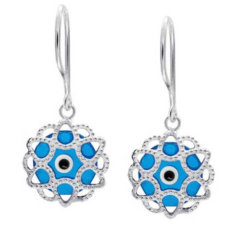 Blue Evil Eye Filigree Drop Earrings 925 Sterling Silver
