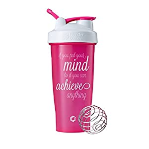 Achieve Anything on BlenderBottle brand Classic shaker cup, 28oz Capacity, Includes BlenderBall whisk (Pink/White lid - 28oz)