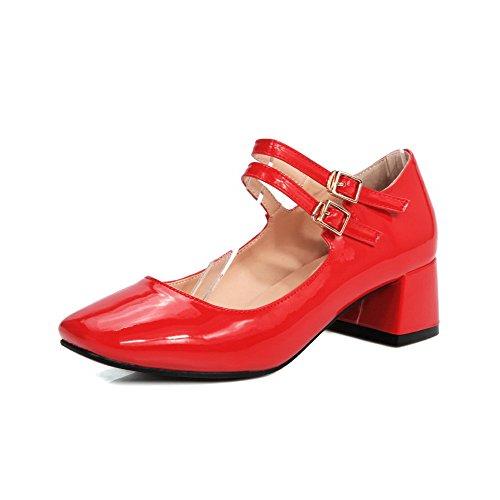 Allhqfashion Dames Pu Kitten Hakken Vierkant Dichte Teen Solide Gesp Pumps-schoenen, Rood, 34