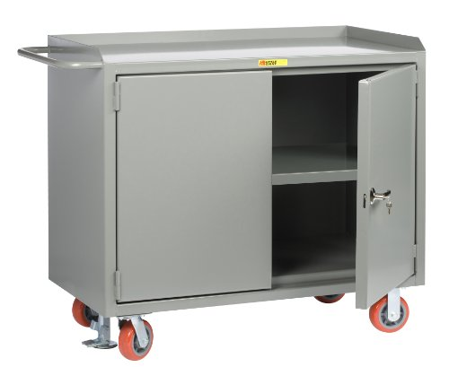 Little Giant MB3-2D-2448-FL Locking Doors Mobile Bench Cabinet with Center Shelf and Powder Coated Steel Top, 3600 lbs Capacity, 48