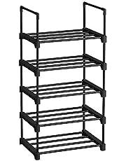 SONGMICS schoenenrek met 5 niveaus, metalen schoenenrek, stapelbaar, ruimtebesparend, schoenenrek, multifunctioneel, staande plank, voor hal, slaapkamer, woonkamer, zwart LSA005B02