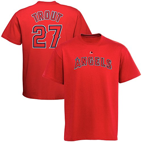 Men's Majestic Athletic Mike Trout Red Los Angeles Angels Official Name and Number T-Shirt (X-Large)