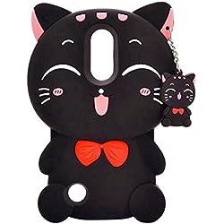 Diseño de gato de la suerte Kitty 3d teléfono bolsa caso de goma suave, ZTE Zmax Pro / Carry Z981, Lucky 3D Kitty -Black