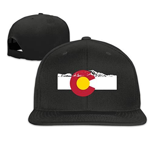 Rocky Mountains Colorado Flag Snapback Hats Flat Bill Baseball Cap Men Black