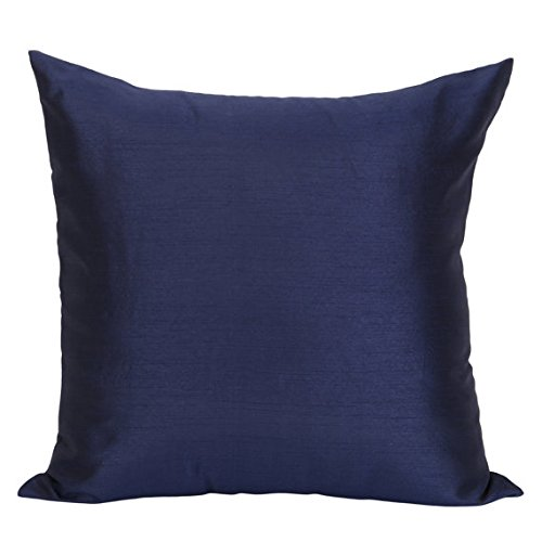 Set of 2 Dark Blue Sham Covers, Plain Silk Sham Cover, Solid Decorative Sham, Accent Sham, Dark Blue Euro Sham Cover, (24x24 inches, Dark Blue ) (Blue Euro Pillow Sham)
