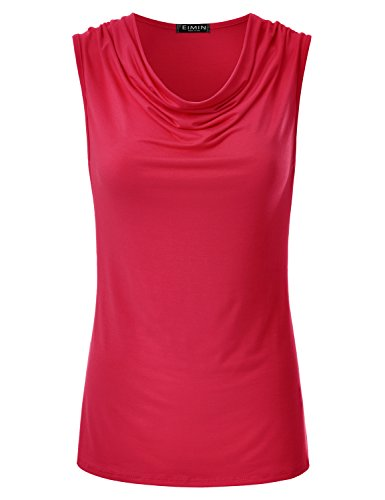 - EIMIN Women's Cowl Neck Ruched Draped Sleeveless Stretchy Blouse Tank Top RED 3XL