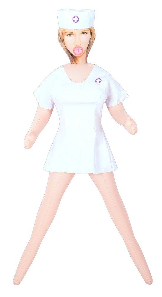 Amor Muñeca – Goma blanco, muñeca – kurvige Amor Muñeca en blanco, Goma en Enfermeras de Dress con lilafarbenem Cruz y bolsa Campana 6a471d