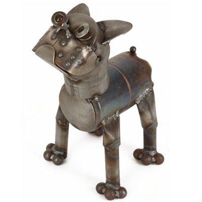 Boston Terrier, Medium Sculpture Yardbirds by Richard Kolb (Terrier Metal Sculpture)