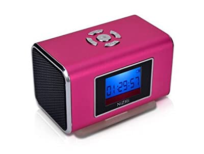 E-More® Mini Portable Great Outdoor Digital Music MP3/4 Player Micro SD/TF USB Disk Speaker Voice Box Supporting FM Radio Alarm Clock Calendar (hot pink)