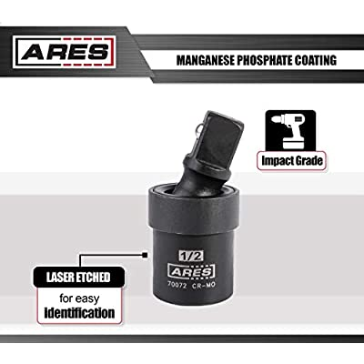 ARES 70073-3-Piece Impact Universal Joint Set - 1/4-Inch, 3/8-Inch and 1/2-Inch Drive Chrome Moly U Joint Sockets Access Hard to Reach Fasteners: Automotive