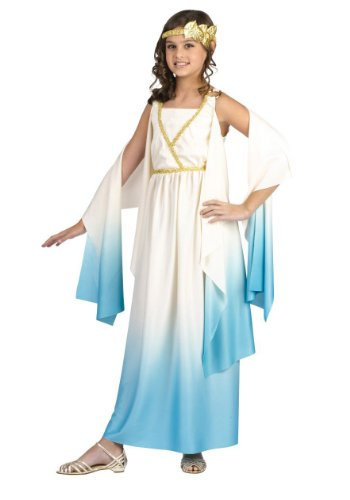 Child Greek Goddess Costume: Roman Girl's Halloween Costume (8-10) (Greek Goddess Sandals)