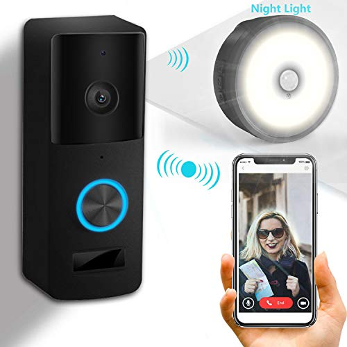 Yiroka Video Doorbell, 1080P HD Security Camera with Two-Way Talk &Video, Real-Time Response, No Monthly Fees, Secure Local Storage, Free Night Light (005-BLACK)