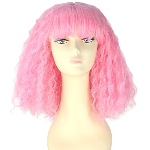 Women Girl Short Pink Spiral Curly Hair Punk Nightclub Party Wig with Full Bangs]()