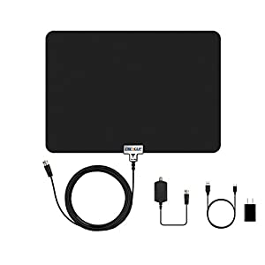 Energup Thin Digital Indoor TV Antenna, 50 Miles Range with 13.4 Feet Coax Cable - Black