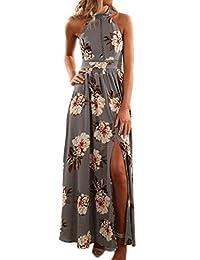 Women's Summer Maxi Dress Floral Halter Backless Slit Boho Beach Party Dresses